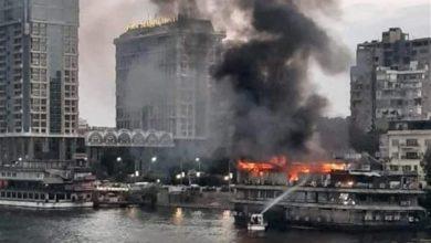 Photo of حريق باخرة نيلية على كورنيش النيل