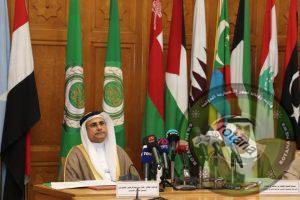 رئيس البرلمان العربي يشهد مؤتمر صحفي عقد بمقر الجامعة العربية